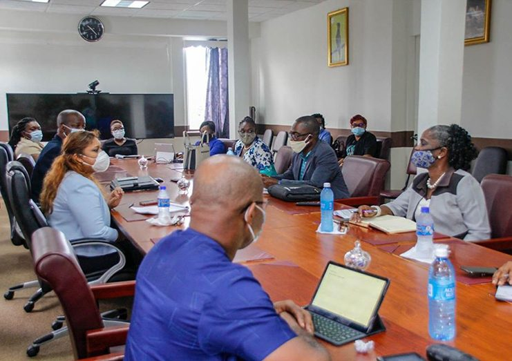Minister of Education, Priya Manickchand (third from left), sitting across from GTU President, Mark Lyte (second from right), during a MoE-GTU meeting on Tuesday