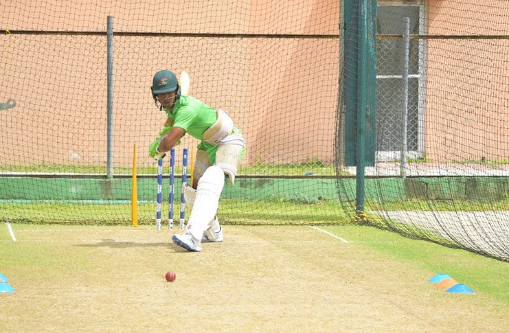Guyana Jaguars batsman Tevin Imlach hits a few in the nets ahead of today's clash.