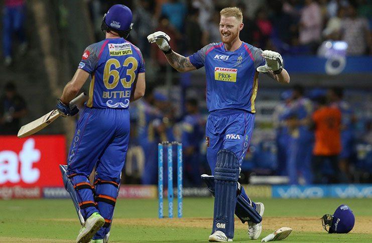 Ben Stokes and Jos Buttler celebrate the victory, Mumbai Indians v Rajasthan Royals, IPL, Mumbai, May 13, 2018