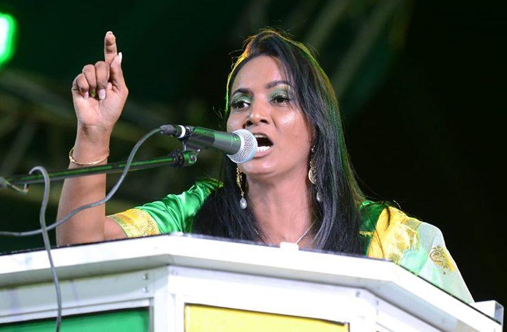 Former Deputy Mayor of Bartica, Kamala Persaud addressing the rally
