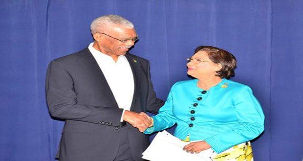 President David Granger meets Trinidad and Tobago's Prime Minister Mrs Kamla Persad- Bissessar