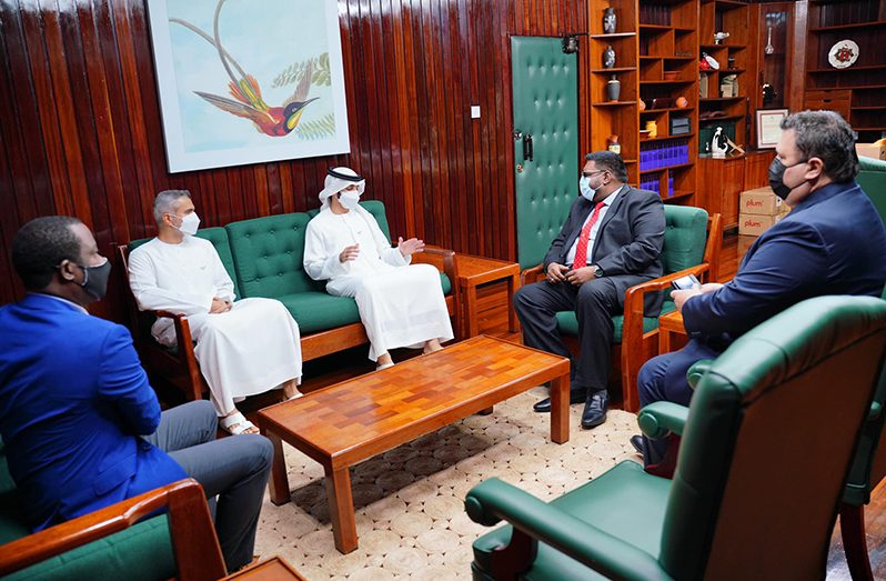 President, Dr. Mohamed Irfaan Ali and Minister of Foreign Affairs and International Cooperation, Mr. Hugh Todd meeting with His Highness Sheikh Ahmed Bin Dalmook Juma Al Maktoum of the United Arab Emirates (UAE) and his delegation on Friday (Office of the President Photograph)