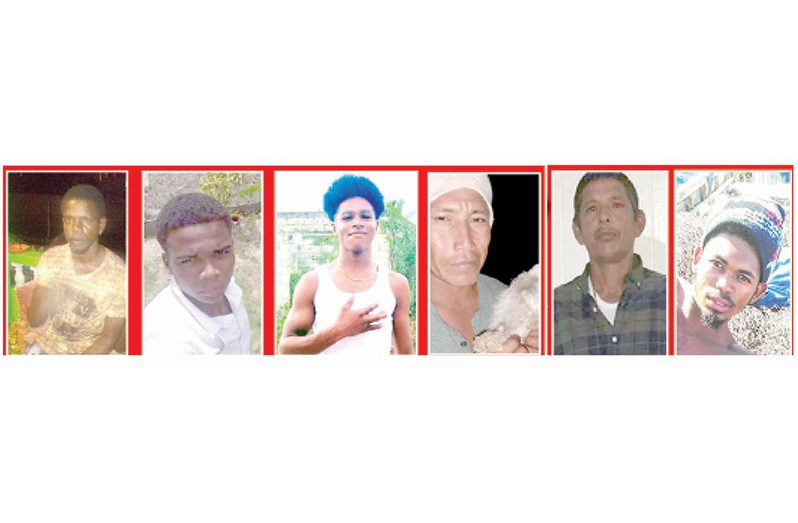 Detained:( from left)  Joel Joseph, Nick Raghubar,Javin Boston ,Orland Roberts, Captain of the Lady Nayera, Richard Ramnarine and Shirvin Oneil
