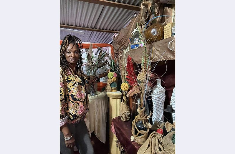 Melba La Gadoue in her craft shop at Stanleytown, New Amsterdam