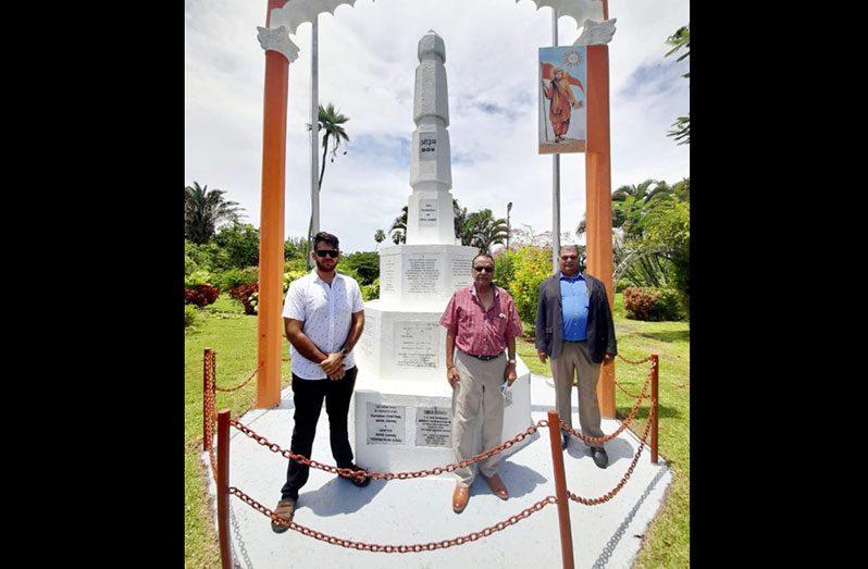 Dr. Vishnu Bandhu, URP leader (right) with UPR Trustee, Ganesh Rajkumar and URP Chairman, Dr. Josh Kanhai (left) at the Arya Samaj national monument, Promenade Gardens, Georgetown