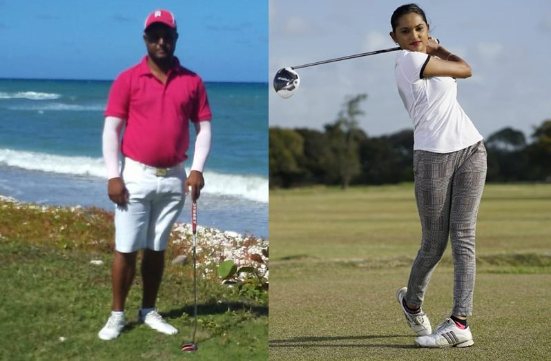 New GGA/Nexgen coaches - Reigning Guyana Open Golf champ Avinash Persaud and former Women's champion Dr Joaan Deo