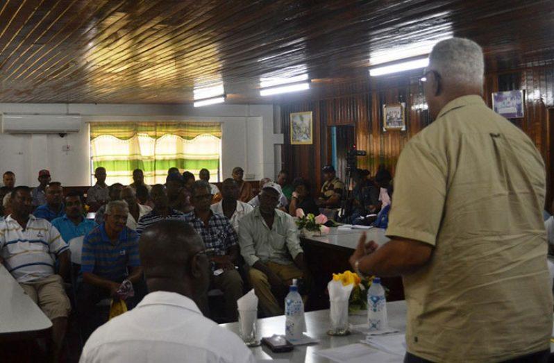 Agriculture Minister, Noel Holder addresser rice farmers of Essequibo