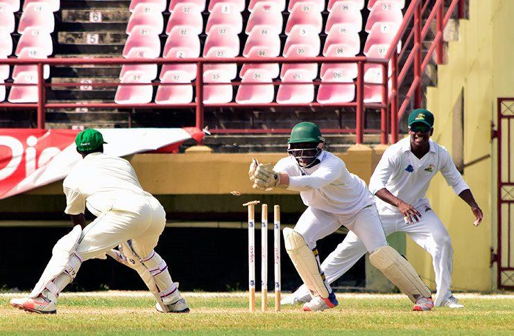 Jamaica batsman Devon Thomas is smartly stumped by wicketkeeper Anthony Bramble off the bowling  leg-spinner Gudakesh Motie (Adrian Narine photo).