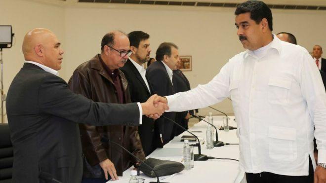 President Maduro shook hands with opposition leaders including Jesus Torrealba